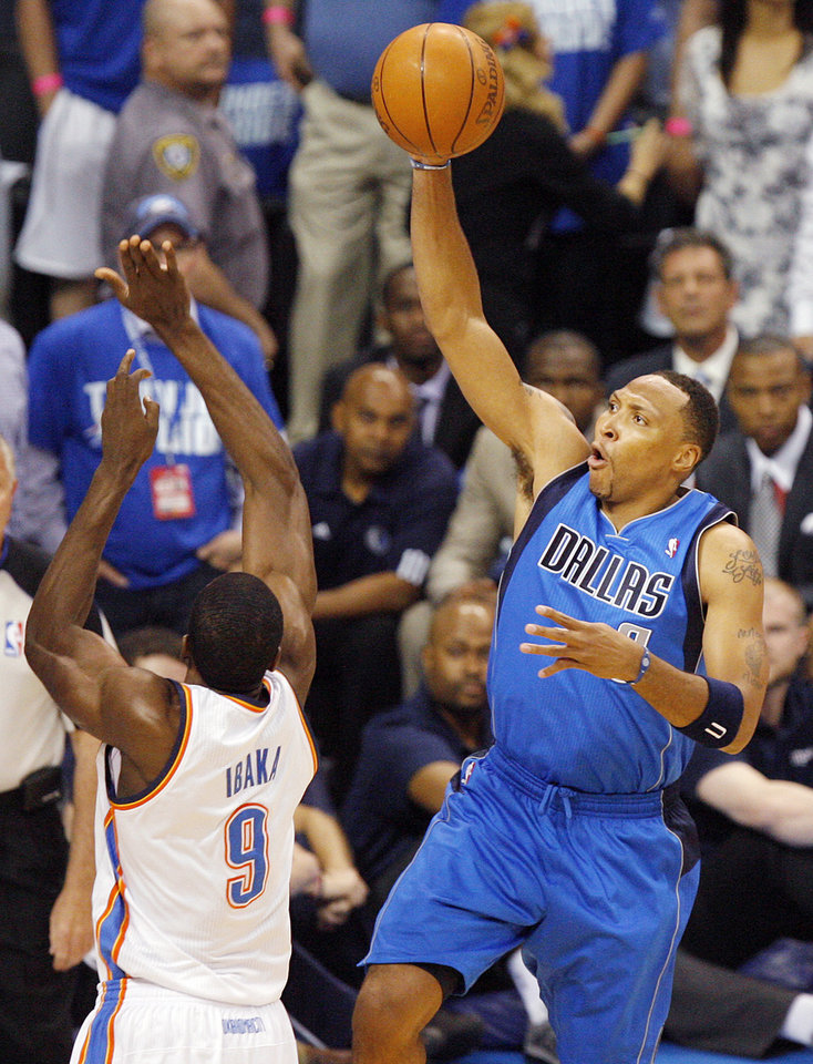 Shawn Marion (0) of Dallas takes a shot as Oklahoma City\'s Serge Ibaka (9) defends in the first half during game 3 of the Western Conference Finals of the NBA basketball playoffs between the Dallas Mavericks and the Oklahoma City Thunder at the OKC Arena in downtown Oklahoma City, Saturday, May 21, 2011. Photo by Nate Billings, The Oklahoman