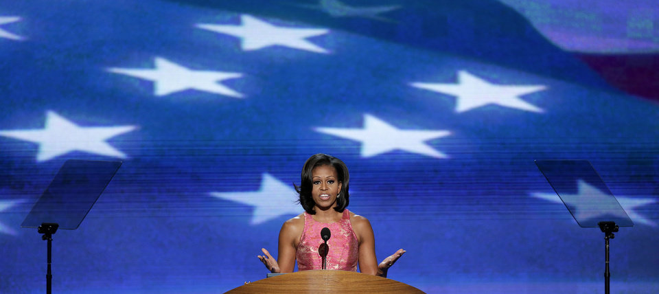 Photo - First Lady Michelle Obama address the Democratic National Convention in Charlotte, N.C., on Tuesday, Sept. 4, 2012. (AP Photo/J. Scott Applewhite)  ORG XMIT: DNC190