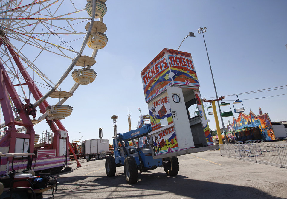 Setting up for Oklahoma State Fair on Thursday afternoon, Sep. 12, 2012. The 10-day event begins Thursday and ends Sunday, Sep. 23, 2012.   Photo by Jim Beckel, The Oklahoman