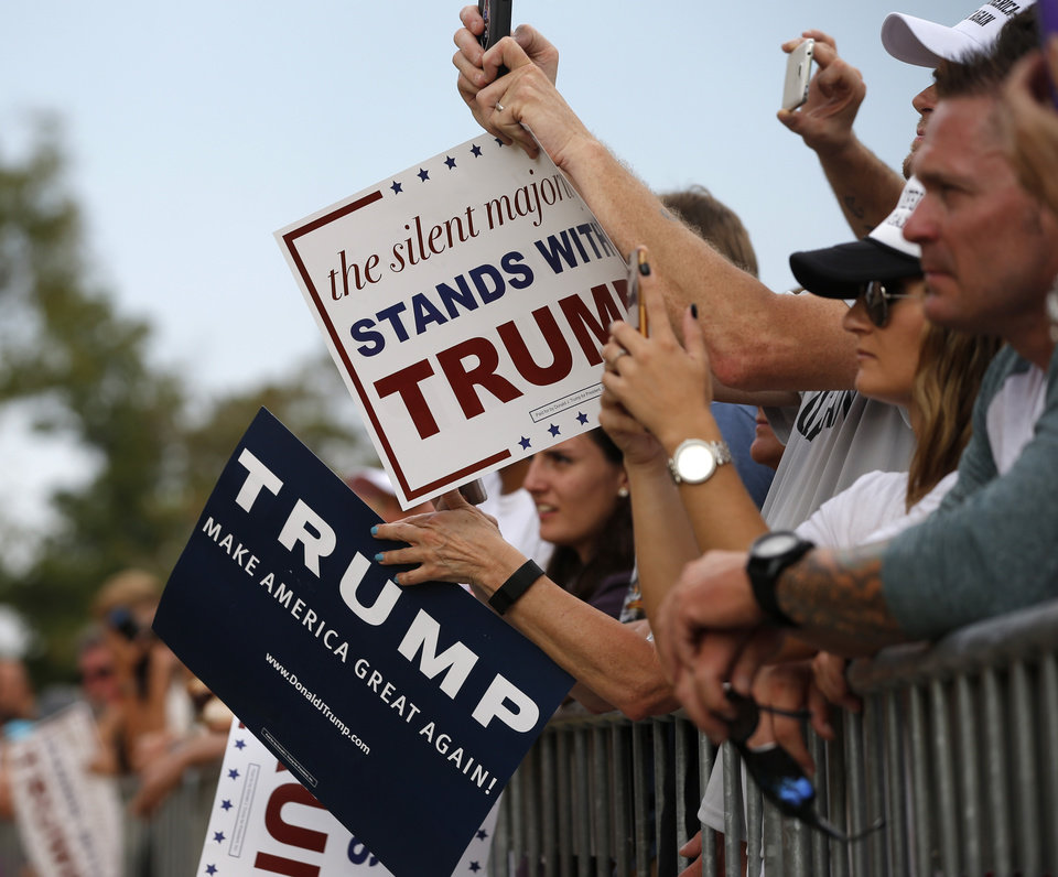 Photo -  Donald Trump  supporters wait for the Republican presidential candidate before a rally at the Oklahoma State Fair in Oklahoma City, Friday, September 25, 2015. Photo by Bryan Terry, The Oklahoman