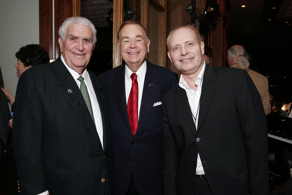 Photo - Lee Allan Smith, David Boren, and Charles Jones at the after party for the Centennial Spectacular at the Ford Center Friday, Nov. 16, 2007. By David Faytinger, for The Oklahoman.