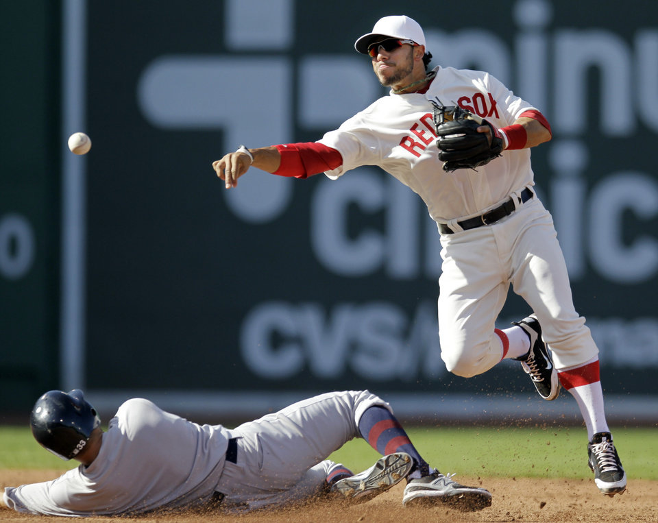 New York Yankees' Nick Swisher, left, is out at second as Boston Red Sox shortstop Mike Aviles, right, turns a double play on Yankees' Raul Ibanez in the third inning of a baseball game at Fenway Park in Boston, Friday, April 20, 2012. (AP Photo/Elise Amendola)