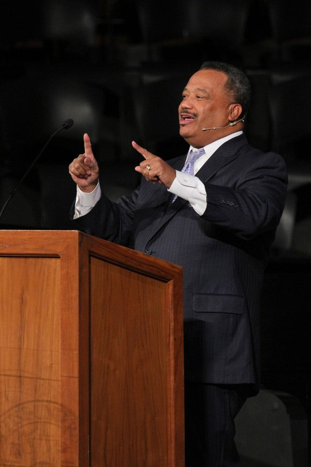 The Rev. Fred Luter, president of the Southern Baptist Convention and senior pastor of Franklin Avenue Baptist Church in New Orleans, La., delivers a sermon Monday at Oklahoma Baptist University in Shawnee. OBU Photo by Bill Pope      <strong></strong>