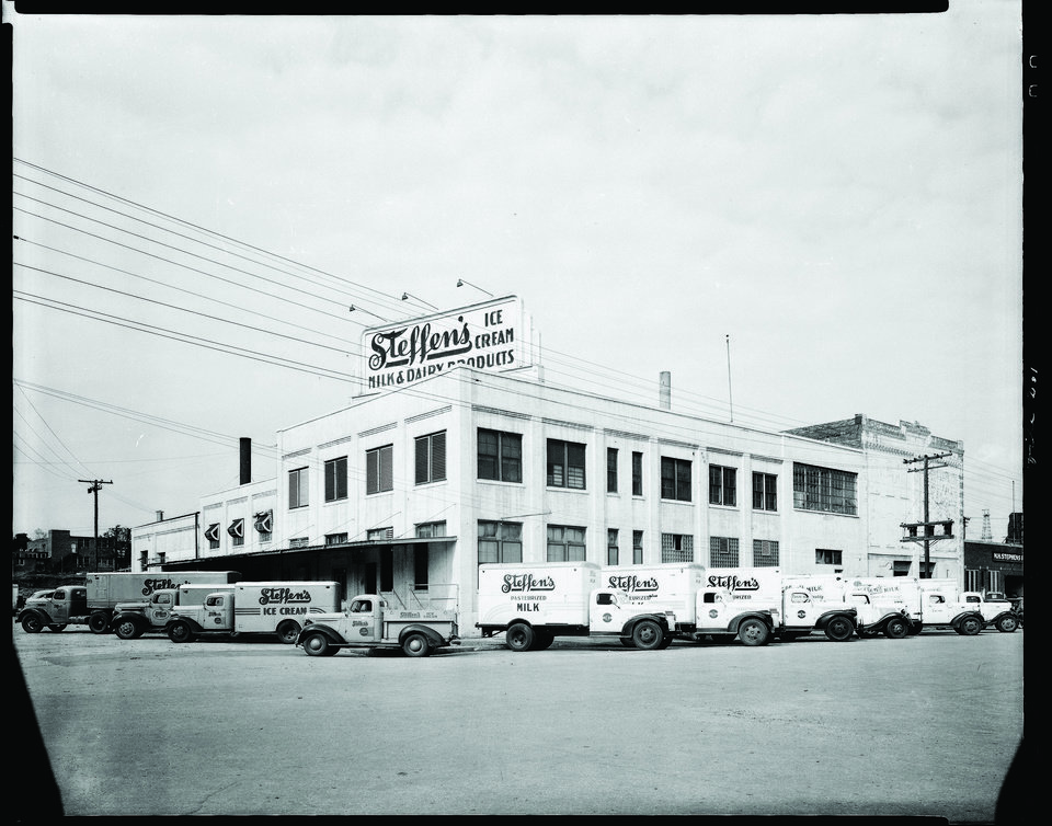 Photo - BUILDING EXTERIOR: Steffen's Ice Cream at 101 E Main, as shown in this 1946 photo. The dairy operated at the site for several decades. Developers are wanting to demolish the structure and replace it with a Holiday Inn Express. ORG XMIT: 0802082217384702