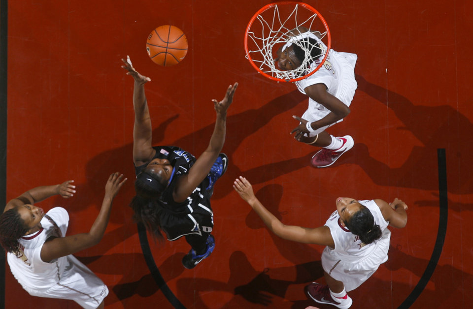 Photo - Duke center/forward Elizabeth Williams (1) makes a layup as Florida State forward Lauren Coleman, left, and forward Natasha Howard, under the basket, and guard Morgan Jones, bottom right, watch in the first half of an NCAA college basketball game, Thursday, Jan. 23, 2014, in Tallahassee, Fla. (AP Photo/Phil Sears)
