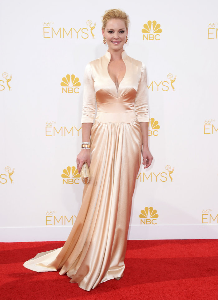 Photo - Katherine Heigl arrives at the 66th Annual Primetime Emmy Awards at the Nokia Theatre L.A. Live on Monday, Aug. 25, 2014, in Los Angeles. (Photo by Jordan Strauss/Invision/AP)