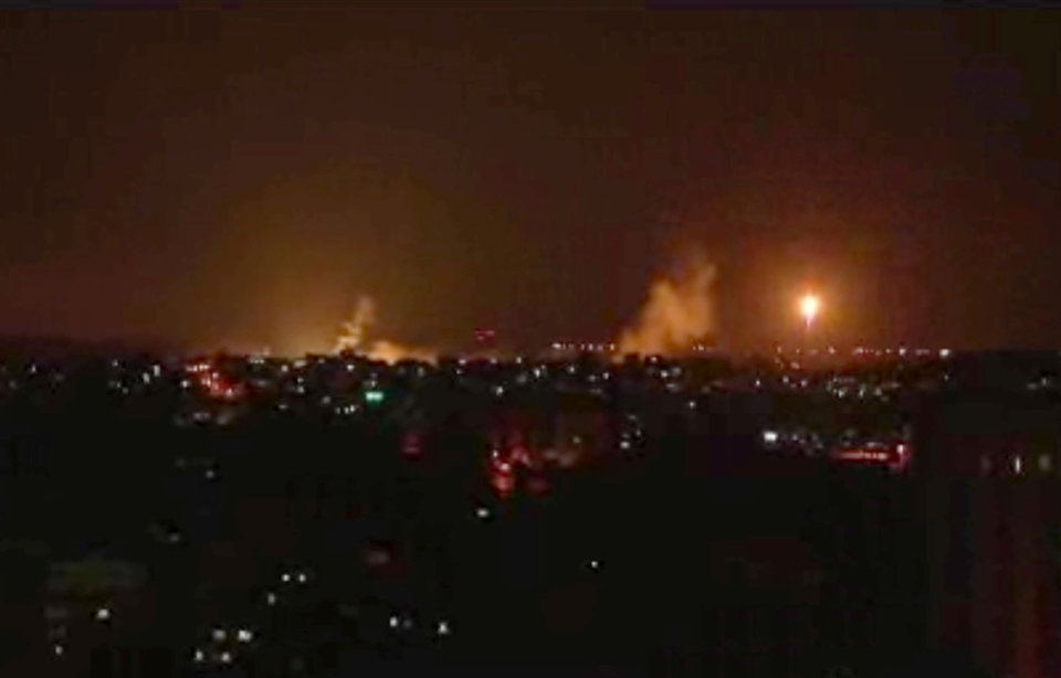 Photo - This image made from video shows the Gaza skyline during Israeli airstrikes Thursday, July 17, 2014. Israel launched a large-scale ground offensive in the Gaza Strip Thursday, escalating a 10-day military operation to try to destroy Hamas' weapons arsenal, rocket firing abilities and tunnels under the Palestinian territory's border with Israel.(AP Photo via AP video)