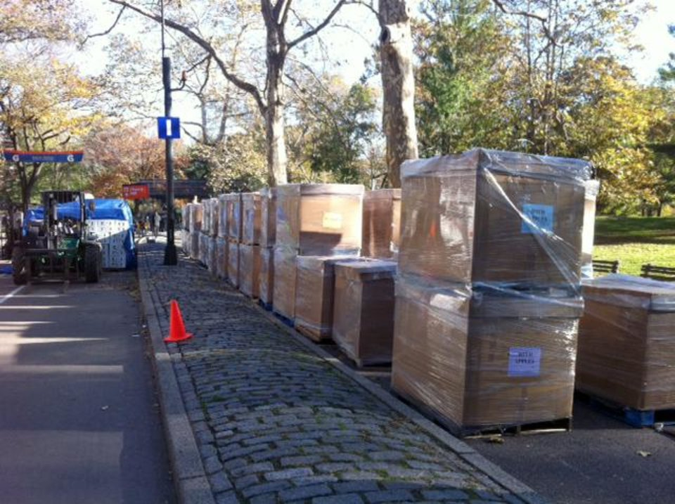Pallets of food are lined up near what would have been the finish line for the 2012 New York Marathon, Saturday, Nov. 3, 2012 in New York�s Central Park. The food was intended for the marathon participants after they finished the race. NYC Mayor Michael Bloomberg canceled the marathon on Friday, Nov. 2, amid rising criticism for planning to go ahead with the race less than a week after much of New York City was damaged by Superstorm Sandy. (AP Photo/Cara Ana)