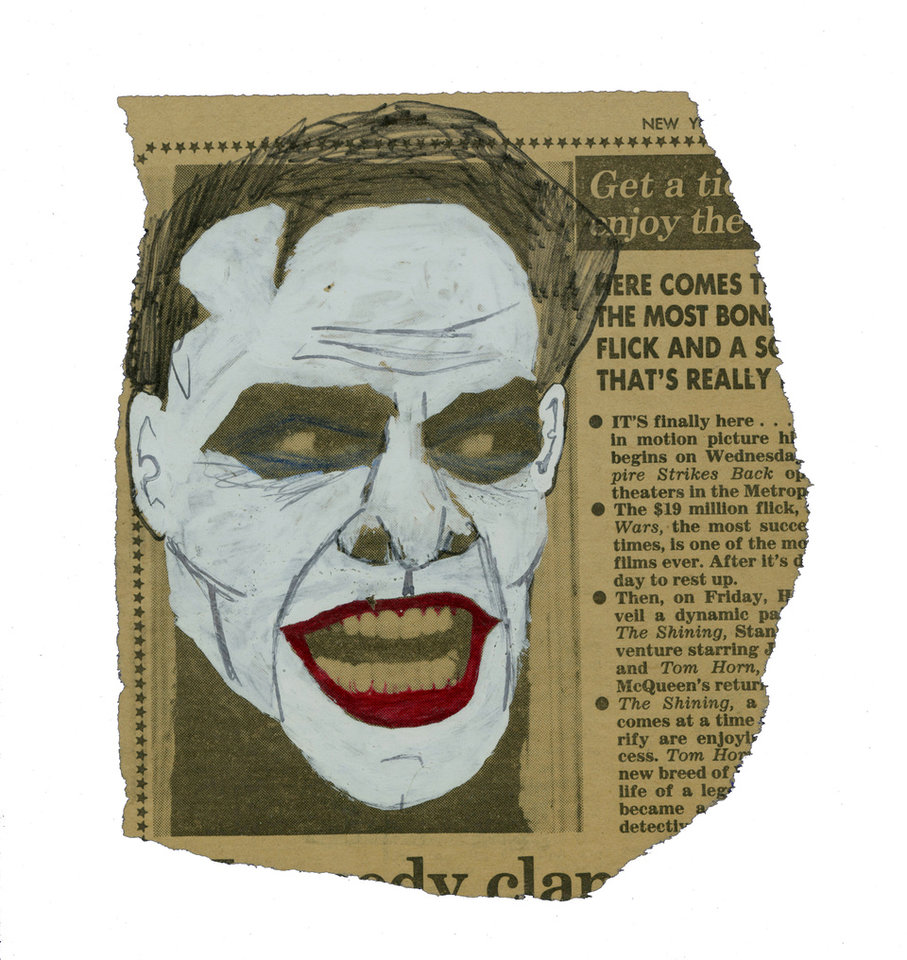 "This image released by Metropolis Collectibles, Inc. shows a drawing of actor Jack Nicholson as The Joker in Tim Burton's 1989 �Batman,� drawn by film producer Michael Uslan over a photo of the actor as Jack Torrance from the film ""The Shining,"" that was printed in The New York Post in 1980. The sketch went up for auction on Monday, Nov. 12, 2012 through ComicConnect.com, along with several other pieces of art and comics that Uslan has collected. The auction will continue until Dec. 3. (AP Photo/Metropolis Collectibles, Inc.)"