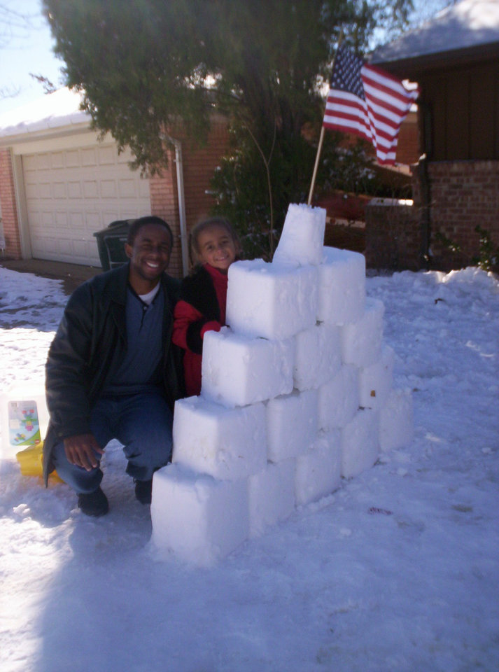 Kayla with her dad next to her fort they built!<br/><b>Community Photo By:</b> Leah<br/><b>Submitted By:</b> Leah, Midwest City
