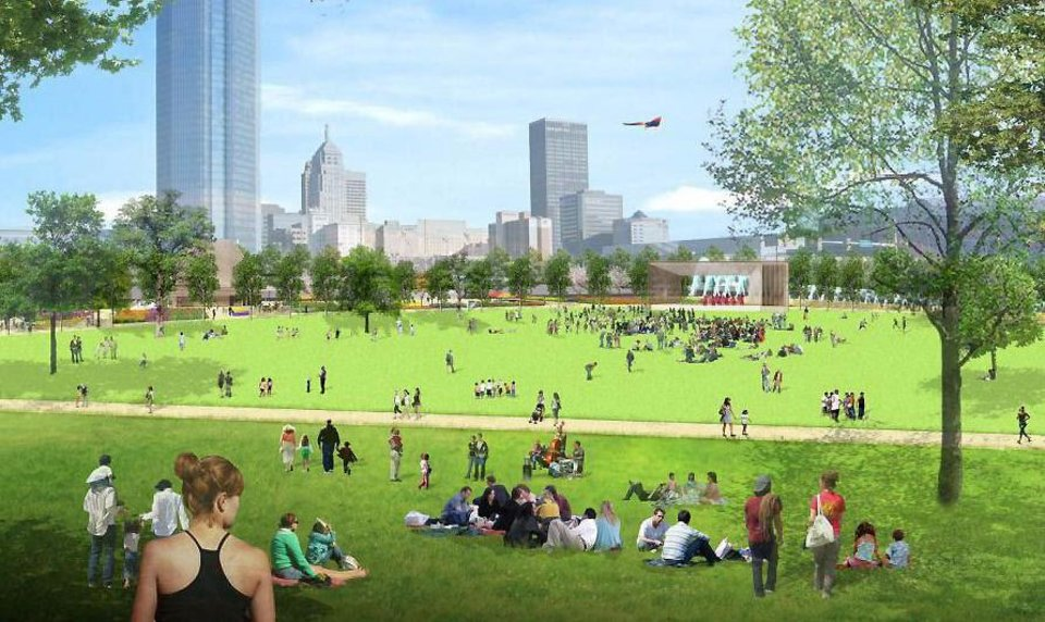 A grand lawn, which is proposed as part of a park in downtown Oklahoma City, is shown in this rendering. PROVIDED BY Hargreaves Associates
