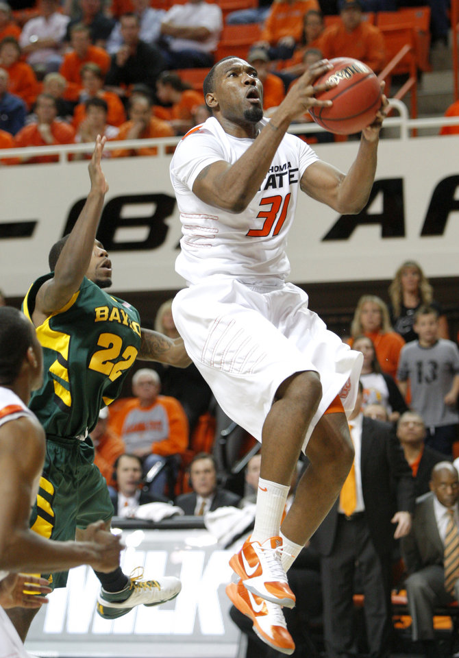during a NCAA college basketball game between Oklahoma State University and Baylor at Gallagher-Iba Arena in Stillwater, Okla., Tuesday, March 1, 2011. Photo by Bryan Terry, The Oklahoman