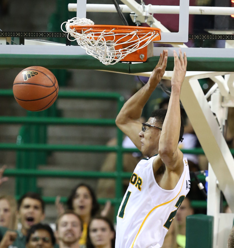 Photo -   Baylor's Isaiah Austin scores over Lehigh in the first half of an NCAA college basketball game on Friday, Nov. 9, 2012, in Waco, Texas. (AP Photo/Waco Tribune Herald, Rod Aydelotte)
