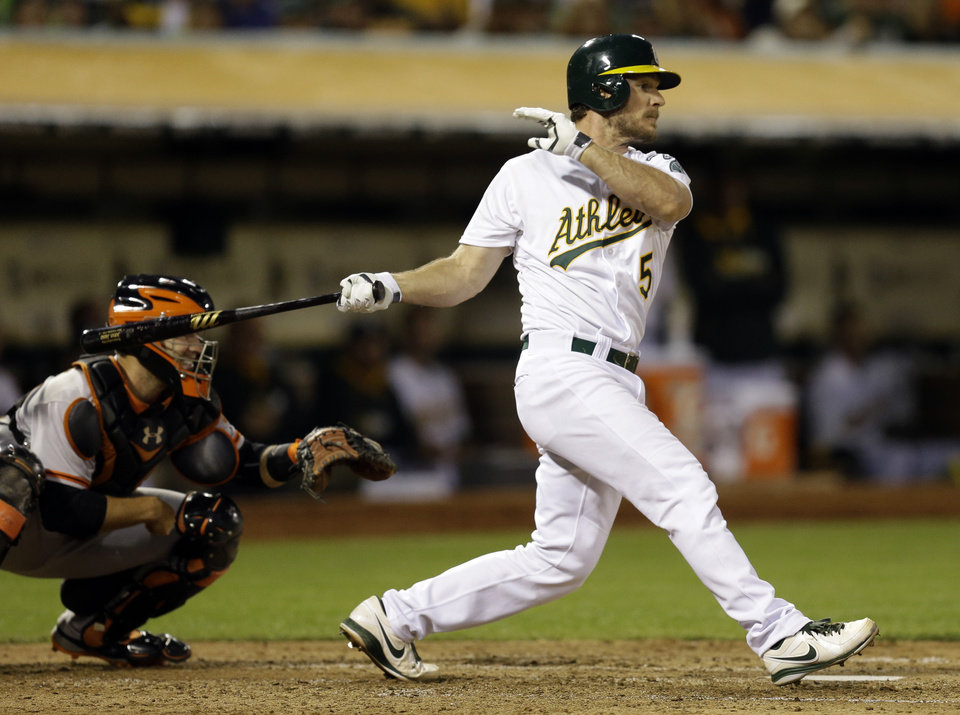 Photo - Oakland Athletics' John Jaso swings for an RBI ground out against the San Francisco Giants in the fifth inning of a baseball game Monday, July 7, 2014, in Oakland, Calif. (AP Photo/Ben Margot)