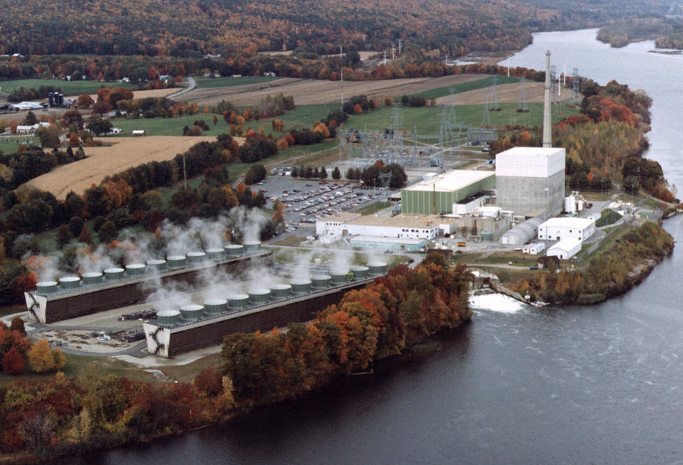 FILE - This is an undated file photo showing an aerial view of the Vermont Yankee nuclear power plant in Vernon, Vt. On Monday, Jan. 14, 2013, a federal appeals court is set to hear oral arguments over whether Vermont's only nuclear plant can continue operating without the approval of state regulators. (AP Photo/Vermont Yankee Corporation, File)