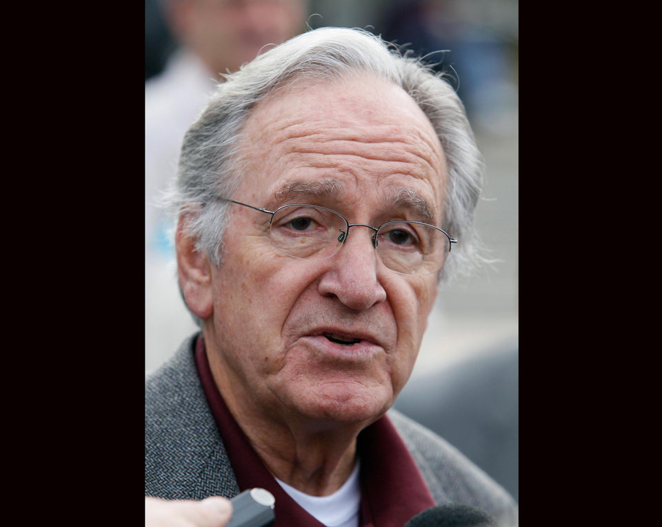 Photo - In this Monday, Oct. 25, 2010 photo, U.S. Sen. Tom Harkin, D-Iowa, speaks to reporters following a rally in support of three Iowa Supreme Court justices who are up for retention votes in the November election, in Des Moines, Iowa. Harkin says he will not seek re-election in 2014, The Associated Press reports Saturday, Jan. 26, 2013. (AP Photo/Charlie Neibergall)