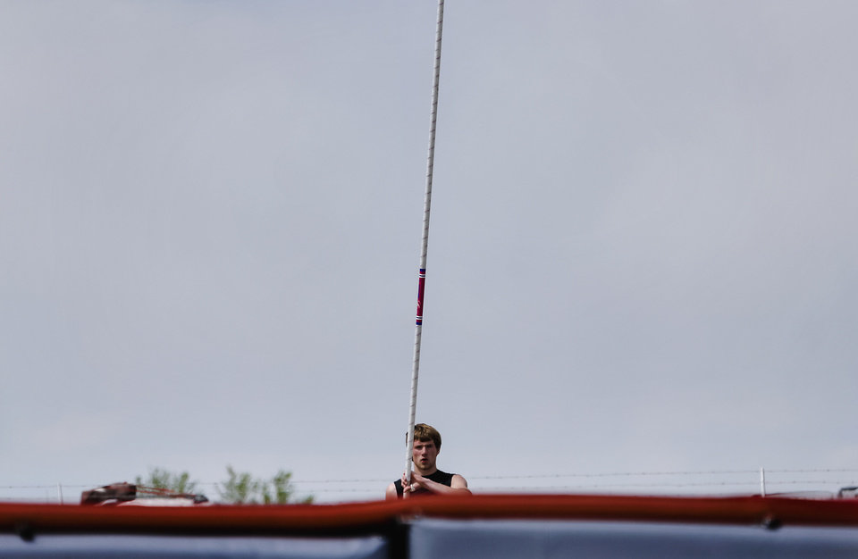 Photo - Buff/Ft. Supply's David Oden competes in the Class A pole vault during the Class A and 2A state championship track meet at Carl Albert High School on Friday, May 3, 2013, in Midwest City, Okla. Photo by Chris Landsberger, The Oklahoman
