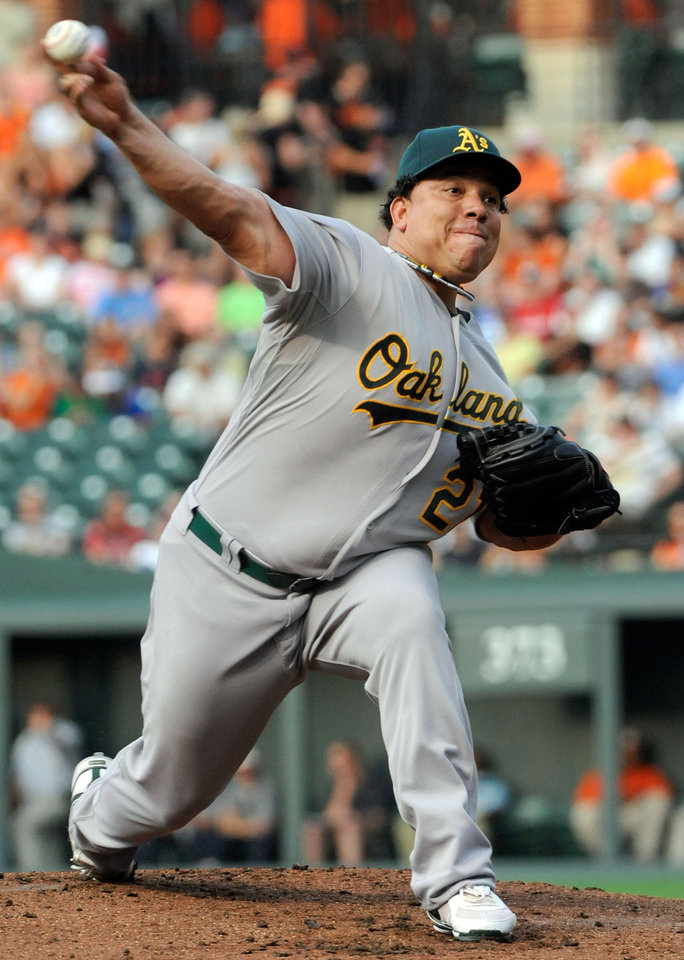 Photo -   FILE - In this July 28, 2012, file photo, Oakland Athletics starting pitcher Bartolo Colon delivers in the second inning of a baseball game against the Baltimore Orioles in Baltimore. Colon, a former AL Cy Young Award winner, has been suspended for 50 games by Major League Baseball on Wednesday, Aug. 22, 2012, after testing positive for testosterone. (AP Photo/Steve Ruark, File)
