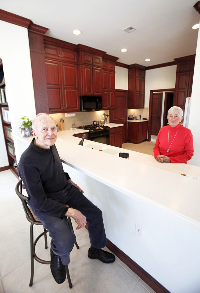 Ron and Vivian Waddell show the kitchen at their home in Edmond.