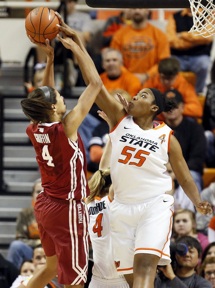 Photo - Oklahoma State's LaShawn Jones (55) blocks the shot of Oklahoma's Nicole Griffin (4) during the Bedlam women's college basketball game between Oklahoma State University (OSU) and the University of Oklahoma (OU) at Gallagher-Iba Arena in Stillwater, Okla., Saturday, Feb. 23, 2013. Photo by Nate Billings, The Oklahoman