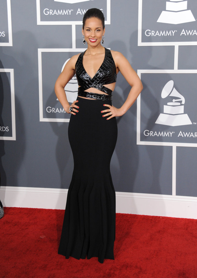 Photo - Alicia Keys arrives at the 55th annual Grammy Awards on Sunday, Feb. 10, 2013, in Los Angeles.  (Photo by Jordan Strauss/Invision/AP)