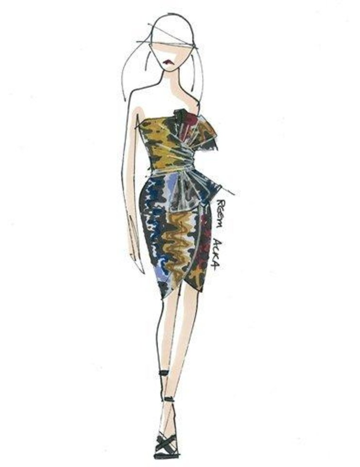 Photo - This sketch courtesy of Reem Acra shows a design from the Reem Acra fall 2011 collection.   The design will be previewed during Fashion Week in New York.     (AP Photo/Reem Acra)