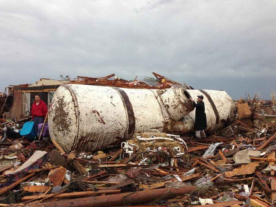 National Weather Service, Norman damage assessment teams found this 10-ton propane tank about a quarter mile east of Briarwood Elementary School after the Monday, May 20 tornado that struck the Newcastle-south Oklahoma City-Moore area. <strong></strong>