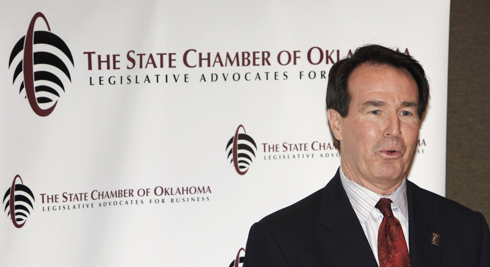 Photo - New State Chamber of Oklahoma president Fred Morgan speaks at a press conference, Tuesday, January 26, 2010. Photo by David McDaniel, The Oklahoman ORG XMIT: KOD