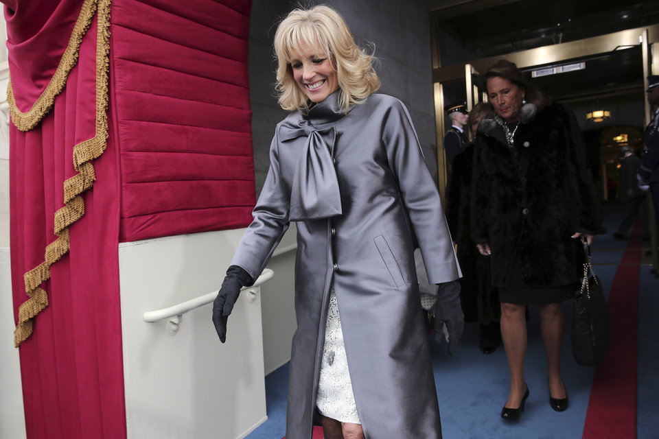 Jill Biden, wife of Vice President Jo Biden, arrives on the West Front of the Capitol in Washington, Monday, Jan. 21, 2013, for the Presidential Barack Obama's ceremonial swearing-in ceremony during the 57th Presidential Inauguration.  (AP Photo/Win McNamee, Pool)
