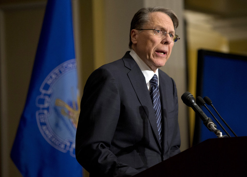 FILE - In this Friday, Dec. 21, 2012 file photo, The National Rifle Association executive vice president Wayne LaPierre, speaks during a news conference in response to the Connecticut school shooting in Washington.  �Law-abiding gun owners will not accept blame for the acts of violent or deranged criminals,� LaPierre said in his statement prepared for the hearing but released on Tuesday Jan. 29, 2013. �Nor do we believe the government should dictate what we can lawfully own and use to protect our families.� (AP Photo/Evan Vucci)