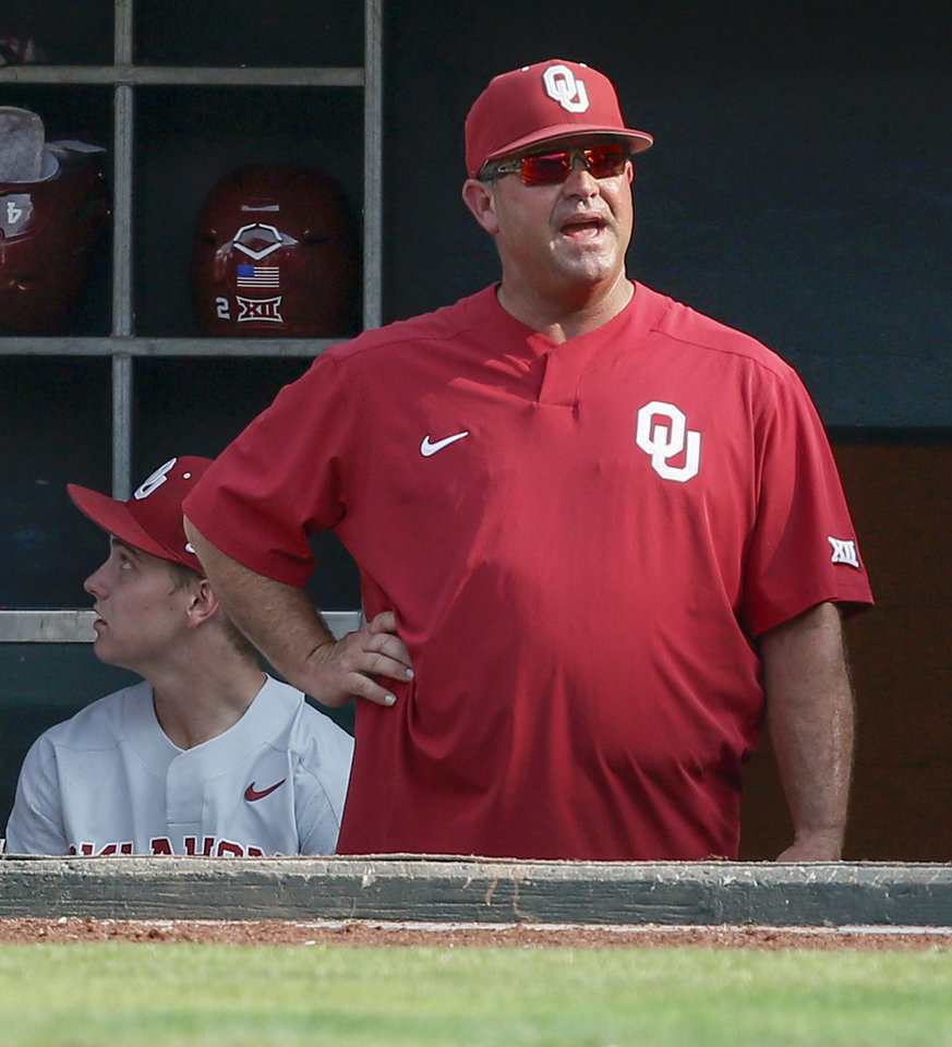 Photo - OU coach Skip Johnson during a game between Oklahoma (OU) and Baylor in the Big 12 baseball tournament at the Chickasaw Bricktown Ballpark in Oklahoma City, Wednesday, May 22, 2019. [Nate Billings/The Oklahoman]
