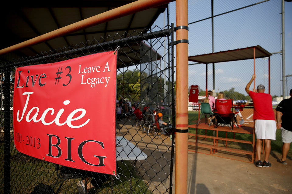 Photo - A sign honoring Jacie Cochran hangs outside the Washington softball stadium during a game in Washington, Okla., Thursday, Sept. 17, 2020. Jacie died July 2 shortly after giving birth to her son Jaxon. [Bryan Terry/The Oklahoman]