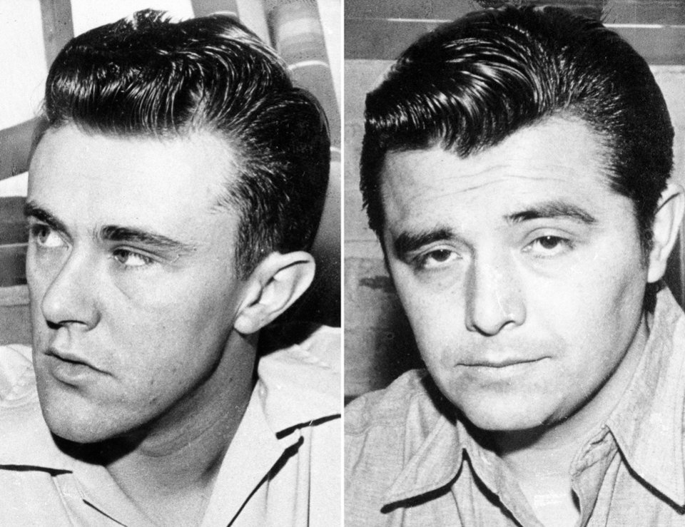"CORRECTS SPELLING OF LAST NAME OF PERSON ON LEFT TO HICKOCK INSTEAD OF HITCHCOCK - This combo made from file photos shows Richard Hickock, left, and Perry Smith, the two men hanged for the Nov. 15, 1959 murders of Herb and Bonnie Clutter and their children in Holcomb, Kan. that became infamous in Truman Capote's true-crime book ""In Cold Blood.""  Their remains were exhumed Tuesday, Dec. 18, 2012, in an effort to solve the slayings of a Florida family killed six weeks later. (AP Photos, File)"