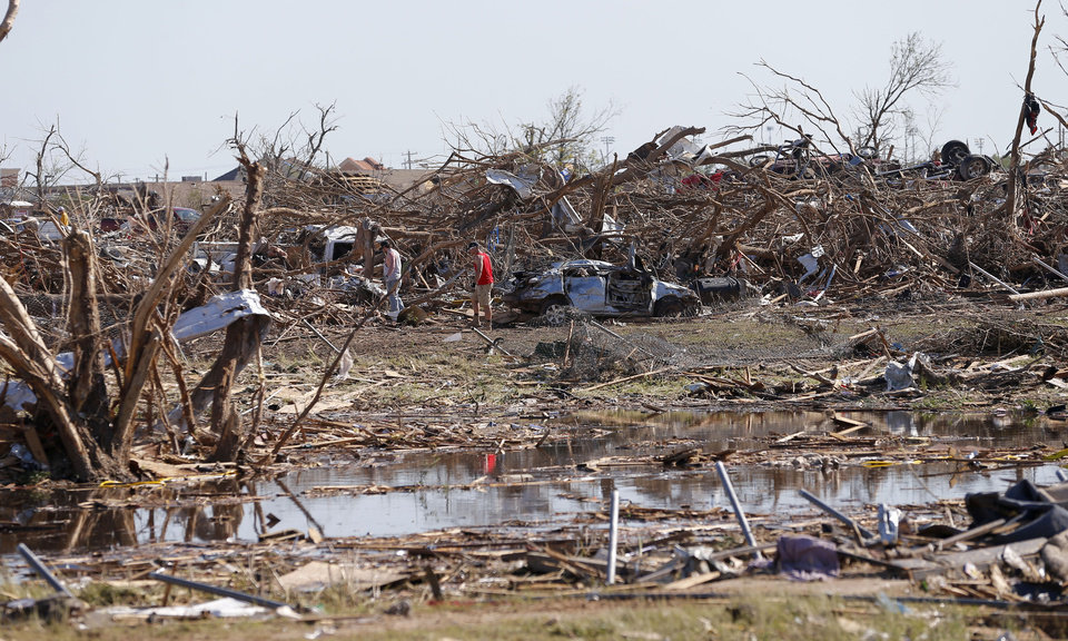 Damage to the Plaza Towers neighborhood in Moore, Okla., on Wednesday, May 22, 2013. The area was heavily damaged by a  tornado that struck on Monday, May 20, 2013. Photo by Bryan Terry, The Oklahoman