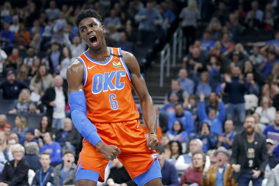 Photo - Oklahoma City's Hamidou Diallo (6) celebrates during an NBA basketball game between the Oklahoma City Thunder and the San Antonio Spurs at Chesapeake Energy Arena in Oklahoma City, Sunday, Feb. 23, 2020. Oklahoma city won 131-103. [Bryan Terry/The Oklahoman]