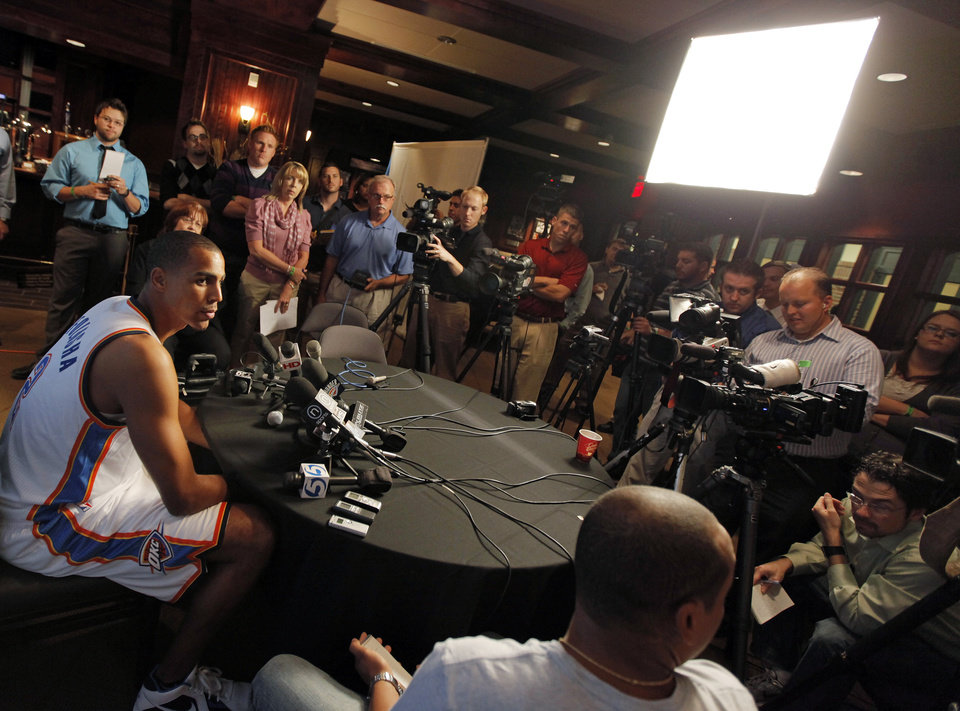 Thabo Sefolosha talks to the media during media day for the Oklahoma City Thunder at the Ford Center in downtown Oklahoma City, Monday, Sept. 27, 2010. Photo by Nate Billings, The Oklahoman