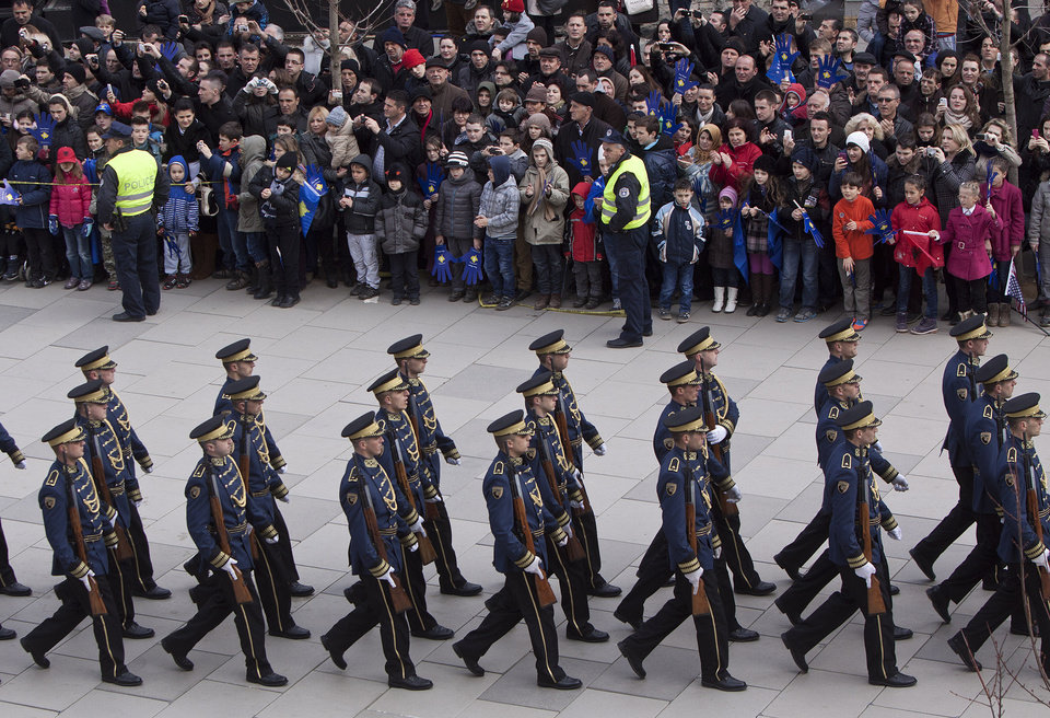 A Kosovo Security Force honor guard parades in the center of Pristina marking the 5th anniversary since Kosovo seceded from Serbia on Sunday, Feb. 17, 2013. Serbia rejects Kosovo\'s independence. (AP Photo/Visar Kryeziu)