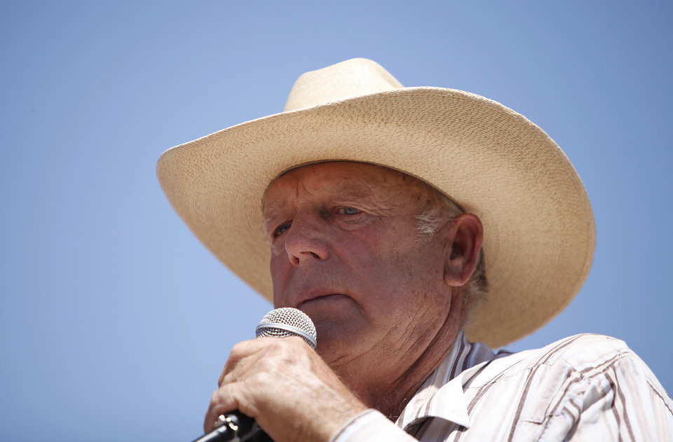 Photo - Rancher Cliven Bundy speaks at a news conference near Bunkerville, Nev., Thursday, April 24, 2014. Bundy, a Nevada rancher who became a conservative folk hero for standing up to the government in a fight over grazing rights, lost some of his staunch defenders Thursday after wondering aloud whether blacks might have had it better under slavery. (AP Photo/Las Vegas Review-Journal, John Locher)