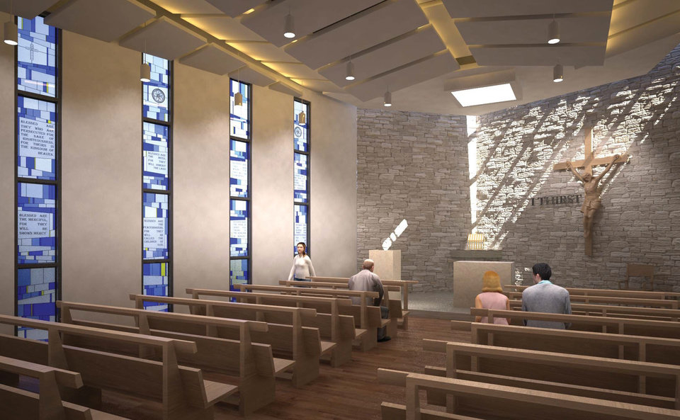 Photo -  A chapel will be included in the future home of Cath olic Charities of Oklahoma City, but will be funded separately from the Crossbeams campaign launched on Thursday. Drawing provided by Mass Architects