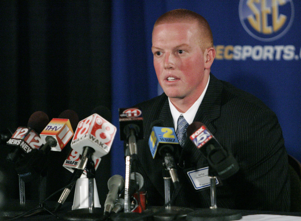 Photo - University of Georgia quarterback Joe Cox speaks at the Southeastern Conference football Media Days in Hoover  Ala. on Thursday, July  23, 2009 (AP Photo/ Butch Dill) ORG XMIT: ALBD112