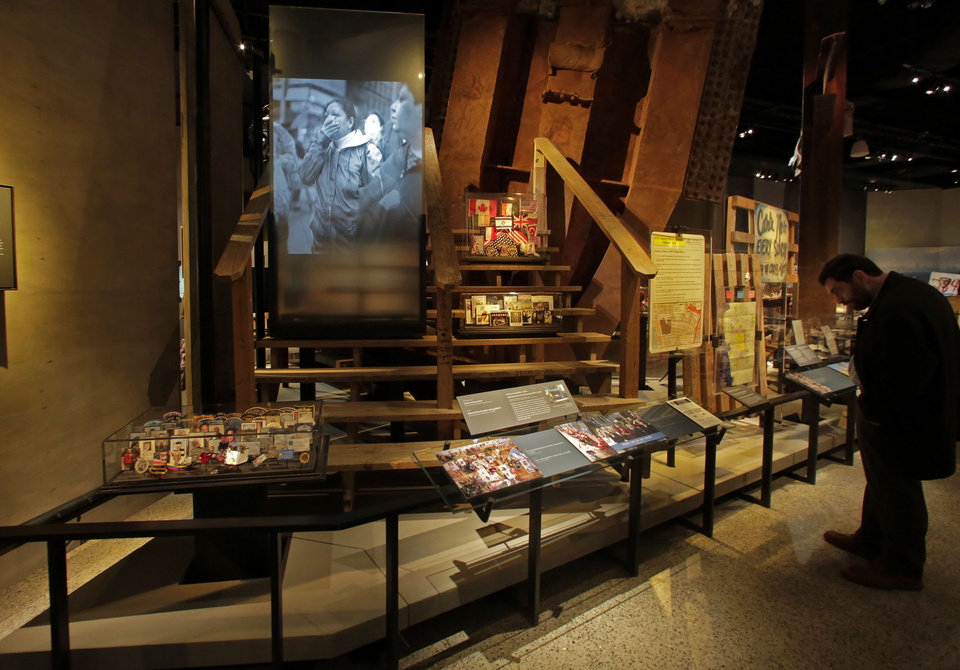 Photo - The Family Viewing Platform, and memorabilia from the World Trade Center, are displayed at the National Sept. 11 Memorial Museum, Wednesday, May 14, 2014, in New York. The museum is a monument to how the Sept. 11 terror attacks shaped history, from its heart-wrenching artifacts to the underground space that houses them amid the remnants of the fallen twin towers' foundations. It also reflects the complexity of crafting a public understanding of the terrorist attacks and reconceiving ground zero.  (AP Photo)