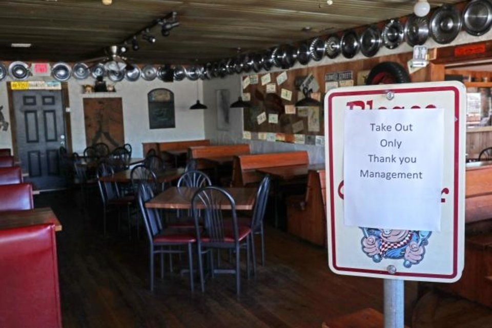 Photo -  Resturants in many communities have been ordered to close their on-premises dining facilities by authorities to help curb the spread of the coronavirus. [DOUG HOKE/THE OKLAHOMAN]