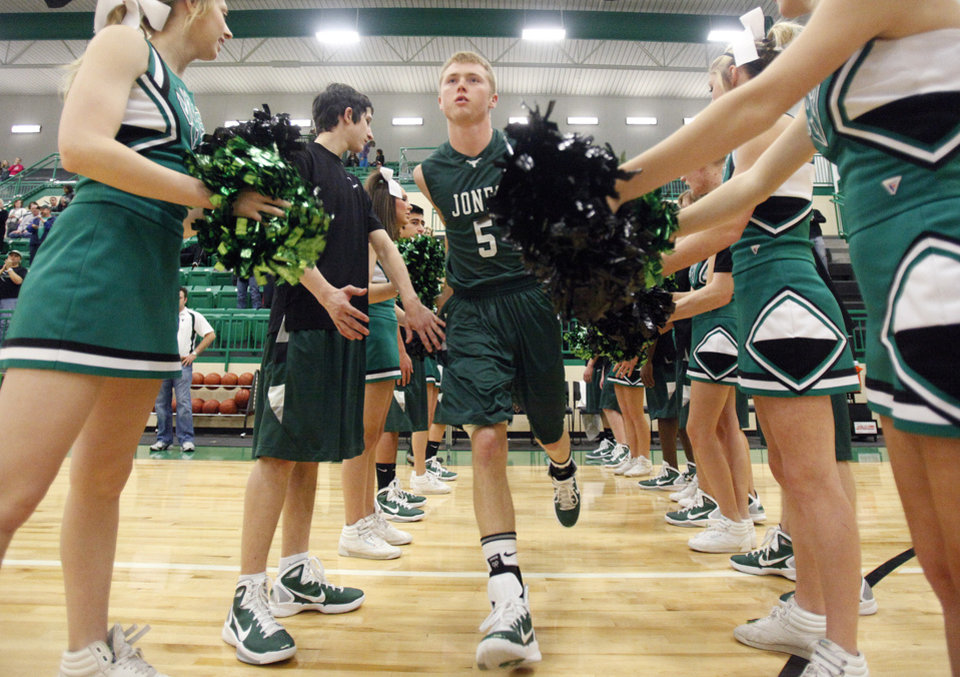 Jones' Kyler Brackett is introduced before a basketball tournament game at Jones High School, Saturday, Jan. 22, 2011, at Jones, Okla. Photo by Sarah Phipps, The Oklahoman