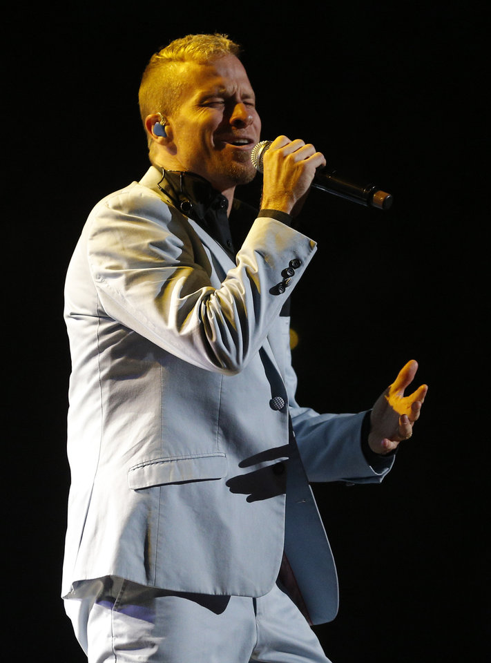 Photo - Brian Littrell with the Backstreet Boys performs at Chesapeake Energy Arena, Friday, June 6, 2014. Photo by Bryan Terry, The Oklahoman