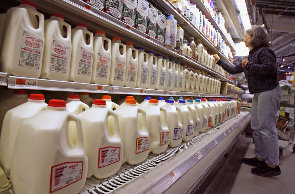 FILE - This Feb. 11, 2009 file photo shows a shopper looking over the milk aisle at the Hunger Mountain Co-op in Montpelier, Vt. Approval of a massive farm bill _ and the cost of a gallon of milk _ could hinge on a proposed new dairy program the House is expected to vote on this week. (AP Photo/Toby Talbot, File)