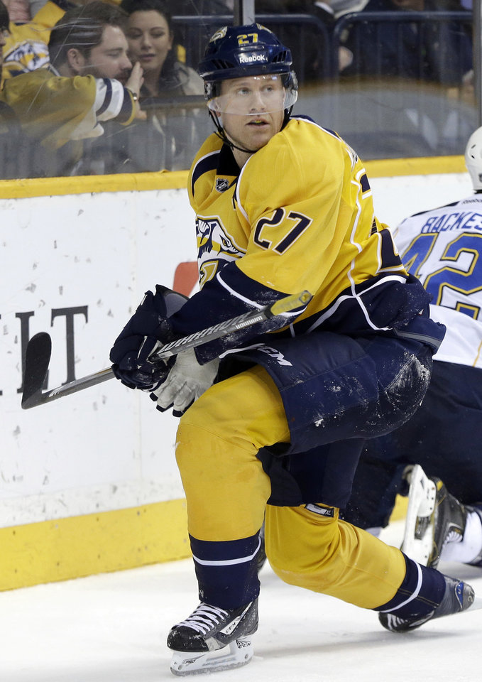 In this photo taken April 9, 2013, Nashville Predators forward Patric Hornqvist, of Sweden, plays against the St. Louis Blues in an NHL hockey game in Nashville, Tenn. The Predators announced Tuesday, April 30, that they have signed Hornqvist to a five-year, $21.25 million contract. (AP Photo/Mark Humphrey)