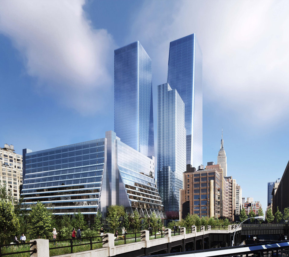 Photo - This undated artist's rendering, provided by Brookfield Office Properties, shows the planned Manhattan West development project on the west side of Manhattan. In the foreground is 5 Manhattan West which houses the Associated Press headquarters at 450 East 33rd St. The two tallest skyscrapers, than 60 stories tall,  center, will be office towers, flanking a residential building.  The Empire State Building is visible in background, at right. (AP Photo/Brookfield Office Properties)