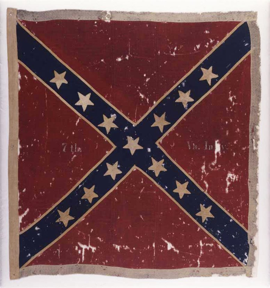 "Photo - This image provided by the Museum of the Confederacy shows the Confederate flag of the 7th Virginia Infantry Army of Northern Virginia Obverse captured at the Battle of Gettysburg, Pa.,, in July 1863 by the 82nd New York Infantry. The flag will be part of an exhibit at the The Museum of the Confederacy ""Gettysburg: They walked through blood"" on May 11 to commemorate the 150th anniversary of the Battle of Gettysburg. (AP Photo/The Museum of the Confederacy, Katherine Wetzel)"