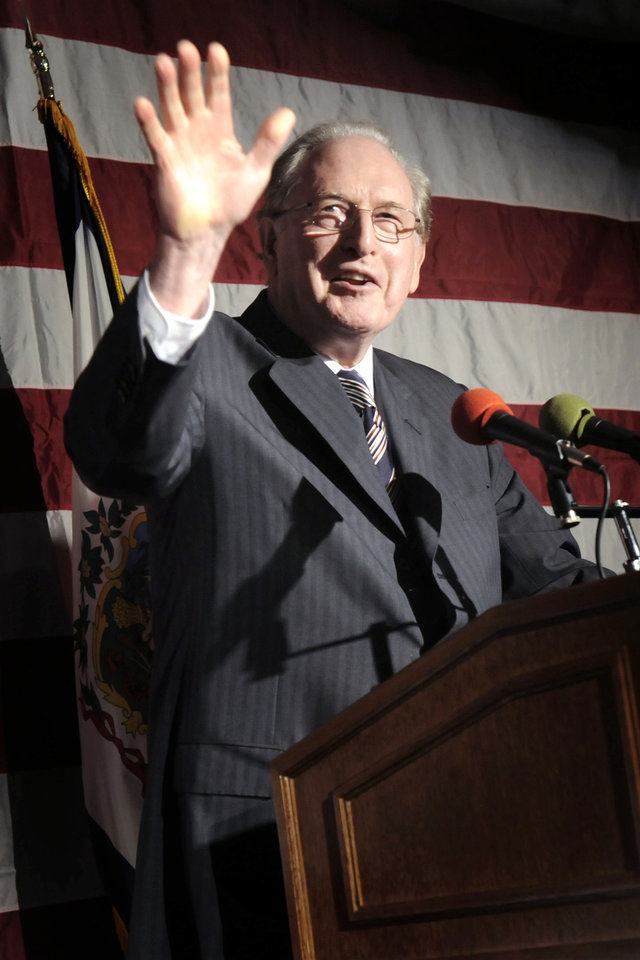 Photo - FILE -In this Tuesday, Nov. 2, 2010 file photo, Sen. Jay Rockefeller, D-W.Va, speaks at a U.S. Senate election party for Gov. Joe Manchin, in Charleston, W.Va. U.S. Sen. Jay Rockefeller said Friday, Jan. 11, 2012, that he will not seek a sixth term in 2014, a half-century after he emerged from one of America's most recognizable dynasties to land in West Virginia and climb atop its political ranks. (AP Photo/Jeff Gentner, File)