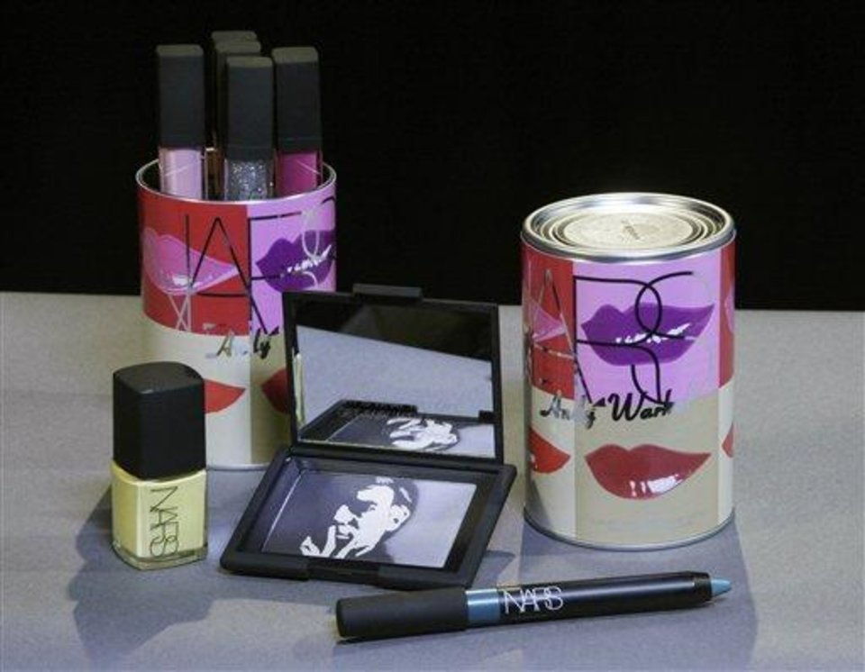 This Oct. 6, 2012 photo shows cosmetics from the Andy Warhol Silver Factory/Holiday 2012 collection by Nars cosmetics in New York. Francois Nars\' company has taken on Andy Warhol\'s silvery Factory, silkscreened superstars and avant-garde films in a limited-edition cosmetic collection, exclusive to Sephora stores until Nov. 1. (AP Photo/Richard Drew)